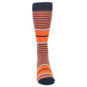 Image of Orange Blue Stripe Men's Dress Socks (front-04)