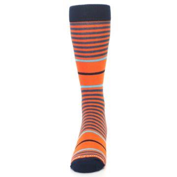Image of Orange Blue Stripe Men's Dress Socks (front-05)