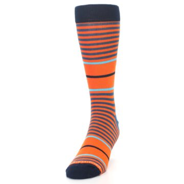 Image of Orange Blue Stripe Men's Dress Socks (side-2-front-06)
