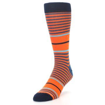Image of Orange Blue Stripe Men's Dress Socks (side-2-front-07)