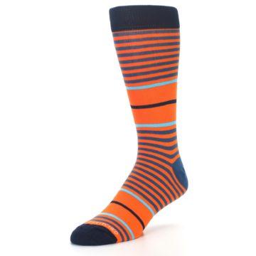 Image of Orange Blue Stripe Men's Dress Socks (side-2-front-08)