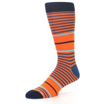 Image of Orange Blue Stripe Men's Dress Socks (side-2-09)