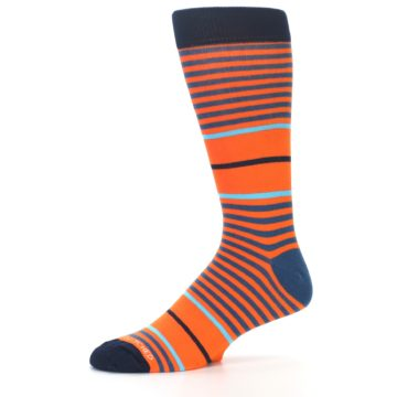 Image of Orange Blue Stripe Men's Dress Socks (side-2-10)