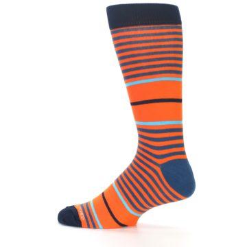 Image of Orange Blue Stripe Men's Dress Socks (side-2-12)