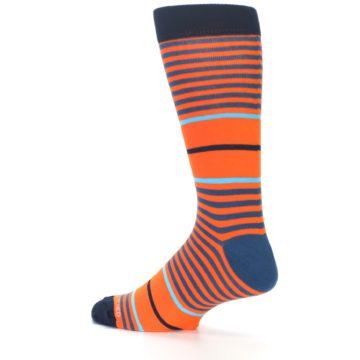 Image of Orange Blue Stripe Men's Dress Socks (side-2-13)