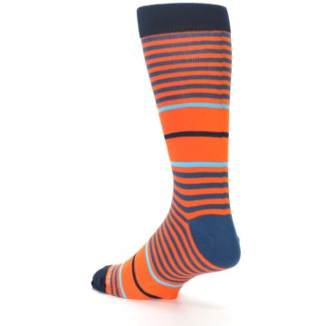 Image of Orange Blue Stripe Men's Dress Socks (side-2-back-14)
