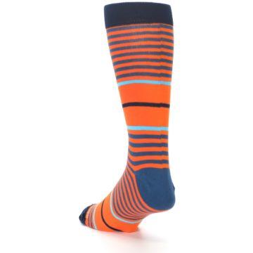 Image of Orange Blue Stripe Men's Dress Socks (side-2-back-15)