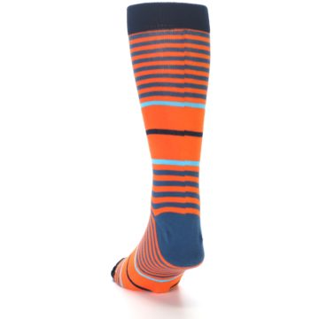 Image of Orange Blue Stripe Men's Dress Socks (side-2-back-16)
