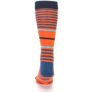 Image of Orange Blue Stripe Men's Dress Socks (back-17)