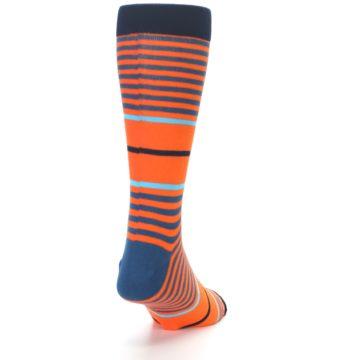 Image of Orange Blue Stripe Men's Dress Socks (back-19)