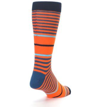 Image of Orange Blue Stripe Men's Dress Socks (side-1-back-20)