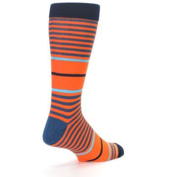 Image of Orange Blue Stripe Men's Dress Socks (side-1-back-21)
