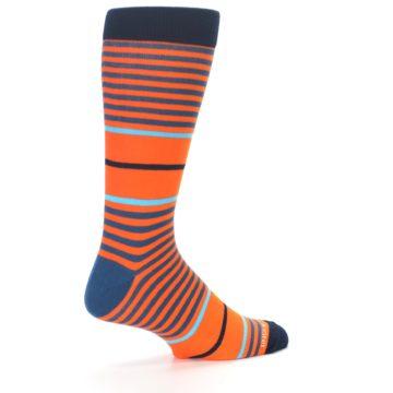 Image of Orange Blue Stripe Men's Dress Socks (side-1-back-22)