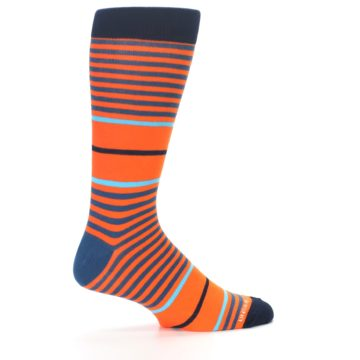 Image of Orange Blue Stripe Men's Dress Socks (side-1-23)
