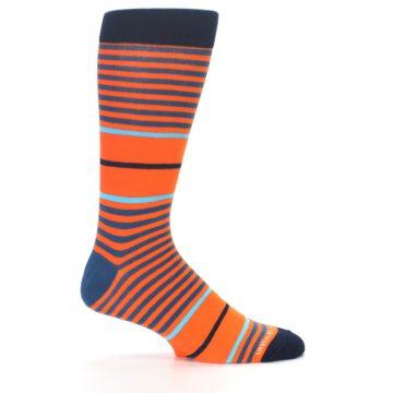Image of Orange Blue Stripe Men's Dress Socks (side-1-24)