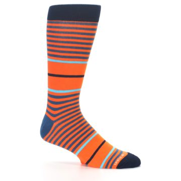 Image of Orange Blue Stripe Men's Dress Socks (side-1-25)