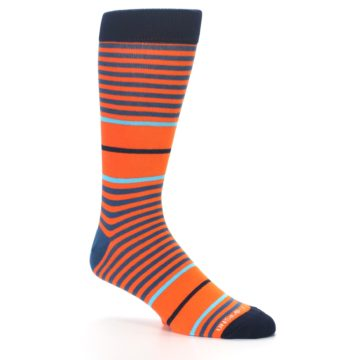 Image of Orange Blue Stripe Men's Dress Socks (side-1-26)