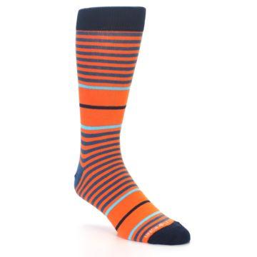 Image of Orange Blue Stripe Men's Dress Socks (side-1-27)