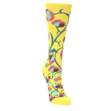 Image of Yellow African Floral Women's Dress Socks (side-1-front-02)