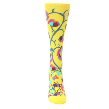 Image of Yellow African Floral Women's Dress Socks (front-04)