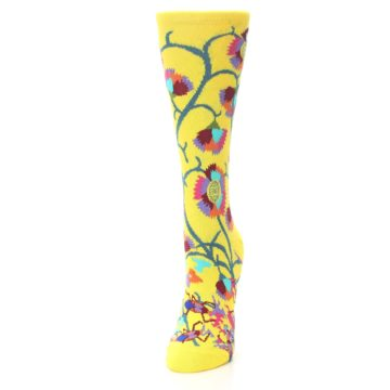 Image of Yellow African Floral Women's Dress Socks (side-2-front-06)