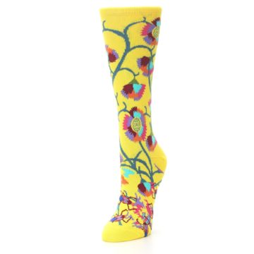 Image of Yellow African Floral Women's Dress Socks (side-2-front-07)