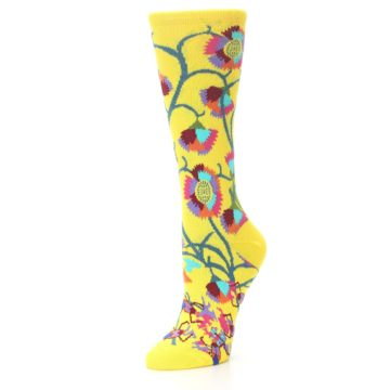 Image of Yellow African Floral Women's Dress Socks (side-2-front-08)