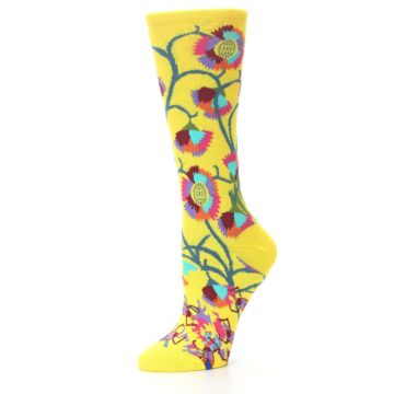 Image of Yellow African Floral Women's Dress Socks (side-2-09)
