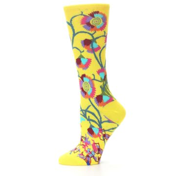Image of Yellow African Floral Women's Dress Socks (side-2-10)