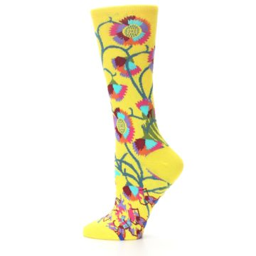 Image of Yellow African Floral Women's Dress Socks (side-2-11)