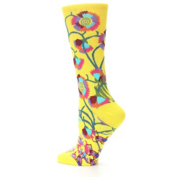 Image of Yellow African Floral Women's Dress Socks (side-2-12)