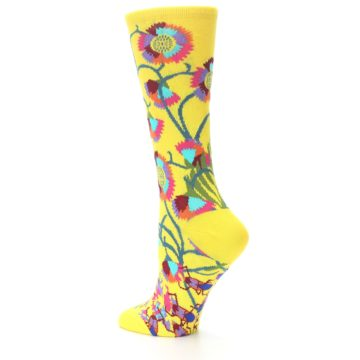 Image of Yellow African Floral Women's Dress Socks (side-2-13)