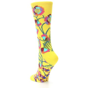 Image of Yellow African Floral Women's Dress Socks (side-2-back-14)