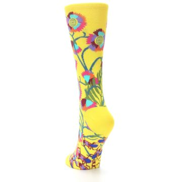 Image of Yellow African Floral Women's Dress Socks (side-2-back-15)