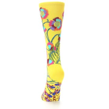 Image of Yellow African Floral Women's Dress Socks (side-2-back-16)