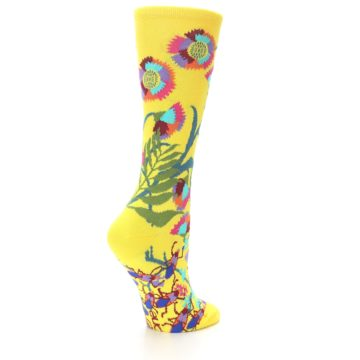 Image of Yellow African Floral Women's Dress Socks (side-1-back-21)