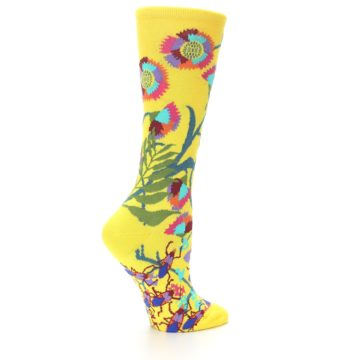 Image of Yellow African Floral Women's Dress Socks (side-1-back-22)