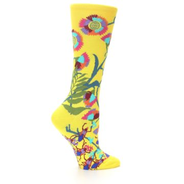 Image of Yellow African Floral Women's Dress Socks (side-1-23)