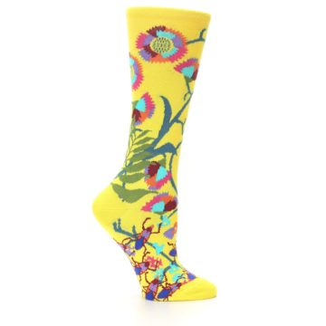 Image of Yellow African Floral Women's Dress Socks (side-1-24)