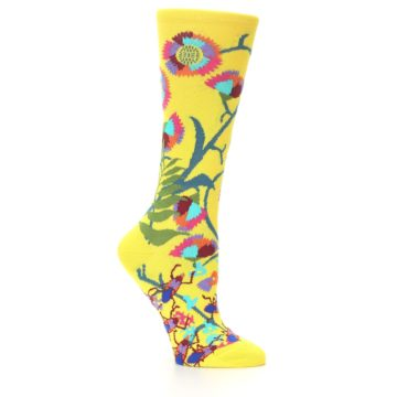 Image of Yellow African Floral Women's Dress Socks (side-1-25)