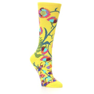 Image of Yellow African Floral Women's Dress Socks (side-1-26)