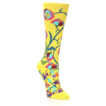 Image of Yellow African Floral Women's Dress Socks (side-1-27)