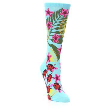 Image of Light Blue Lady Bugs Floral Women's Dress Socks (side-1-front-02)