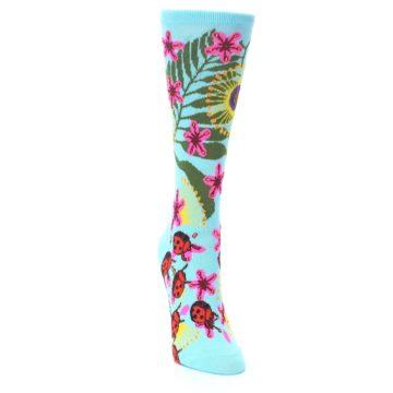Image of Light Blue Lady Bugs Floral Women's Dress Socks (side-1-front-03)