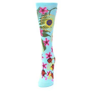 Image of Light Blue Lady Bugs Floral Women's Dress Socks (side-2-front-06)