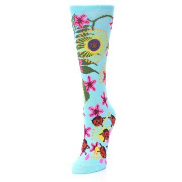 Image of Light Blue Lady Bugs Floral Women's Dress Socks (side-2-front-07)