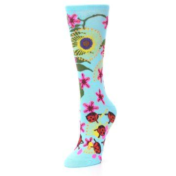 Image of Light Blue Lady Bugs Floral Women's Dress Socks (side-2-front-08)