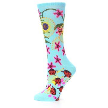 Image of Light Blue Lady Bugs Floral Women's Dress Socks (side-2-11)