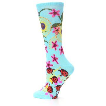 Image of Light Blue Lady Bugs Floral Women's Dress Socks (side-2-12)