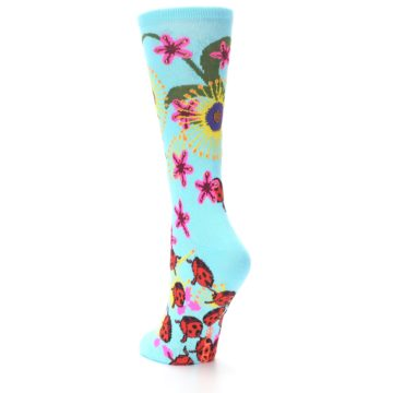 Image of Light Blue Lady Bugs Floral Women's Dress Socks (side-2-back-15)